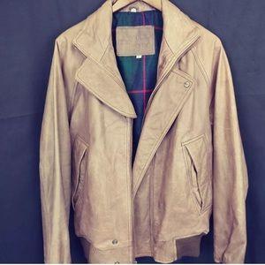 Other - NAK Authentic Leather Bomber Jacket Tartan Plaid